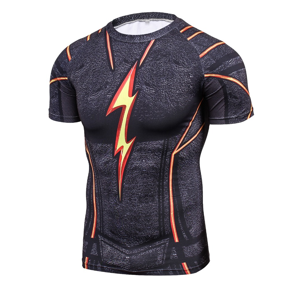 Cool Men Black Flash 3D Printing Compression Shirt Avengers Costume Comics Superhero T Shirts Youth Fitness Tights Tops & Tees