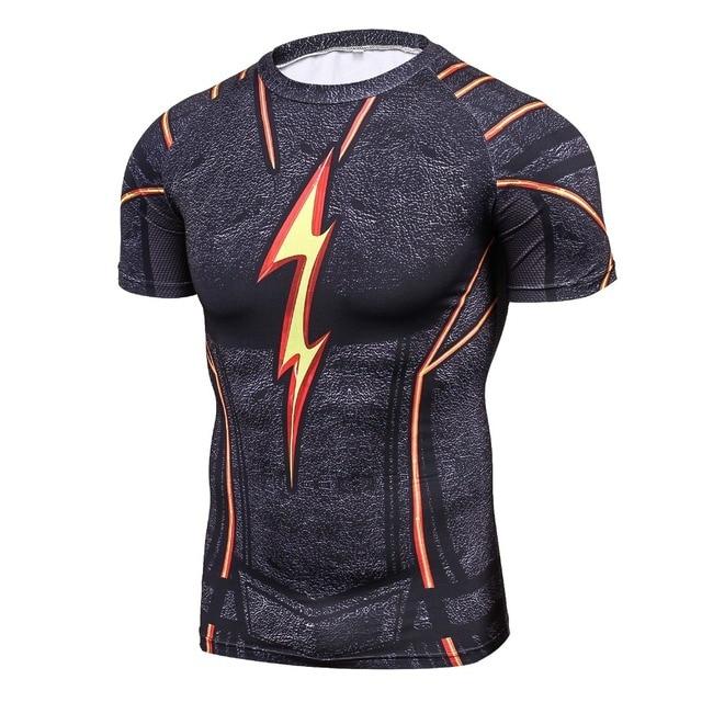 b45f9ec565 Cool Men Black Flash Camisa De Compressão de Quadrinhos de Super-heróis  Vingadores Traje Impressão