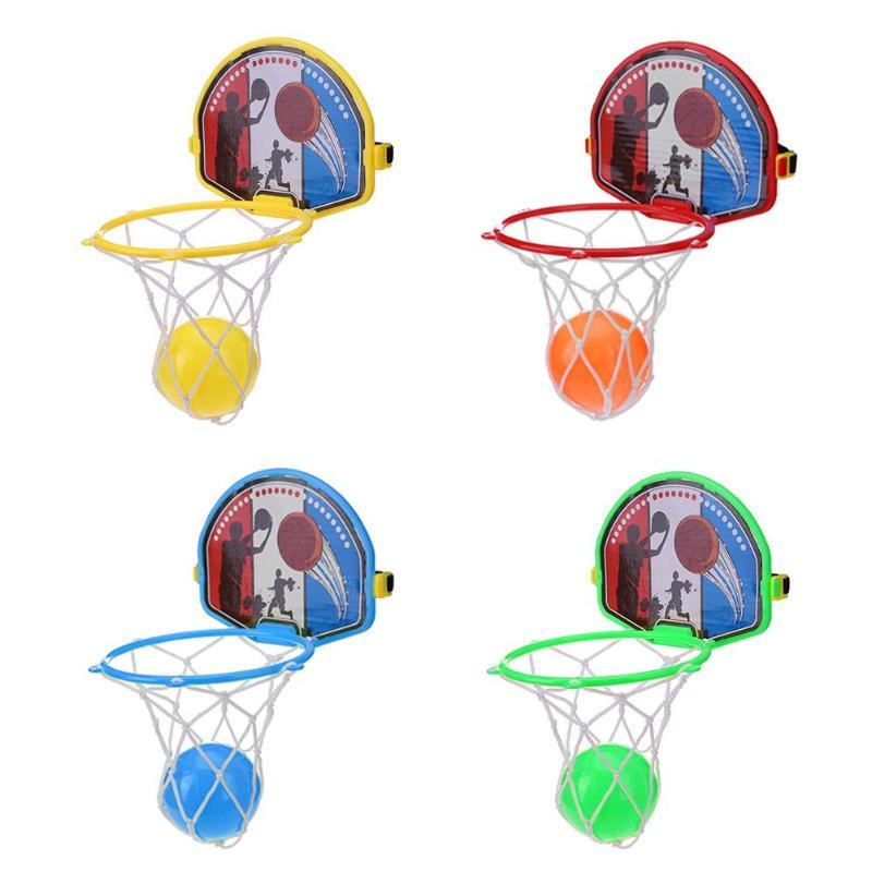 4sets Mini Portable BasketBall Hoop Toy Toilet Bathroom Desk Home Basketball Fans Game Set For Basketball Fans Kids Baby Adults