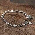 Lily Cruz Cráneo Pulsera 100% plata esterlina 925 brazalete de la pulsera para las mujeres bandas loom joyería de plata 925 2016 Llegada GB13