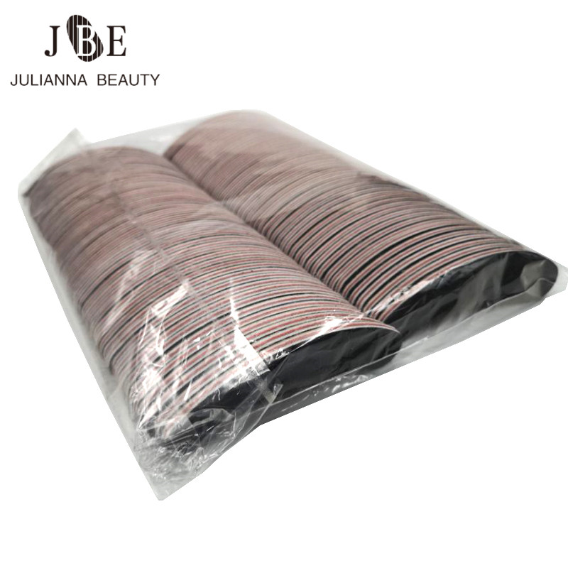 100 Pcs/lot 100/180 Bent Diamond Black Nail File Dip Powder Washable Double Sided Emery Board Grit Nail Buffering Files