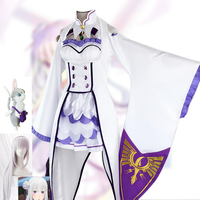 Emilia Cosplay Re:zero Kara Hajimeru Isekai Seikatsu Re Life In a Different World From Zero White Fairy Magician Costume w Wigs