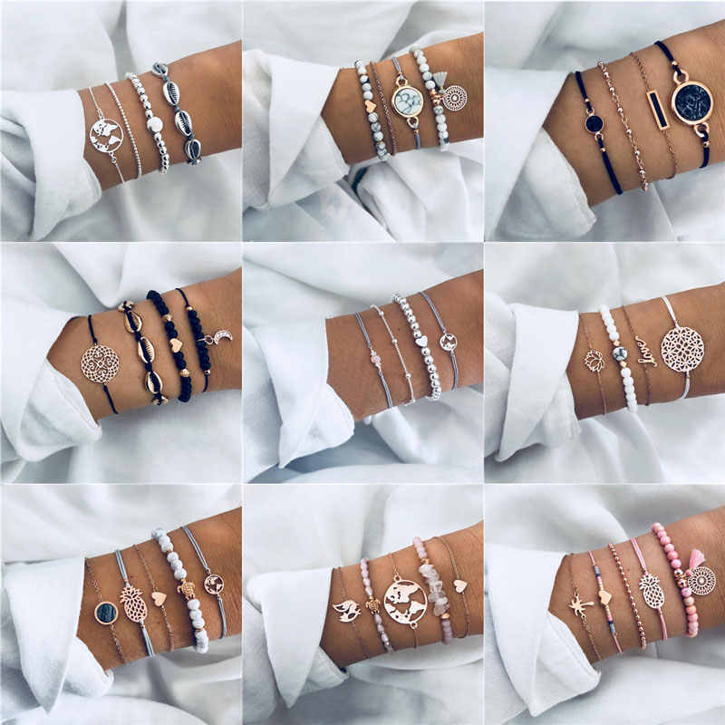 32 Styles Boho Bangle Elephant Heart Shell Star Moon Bow Map Crystal Bead Bracelet Women Charm Party Wedding Jewelry Accessories