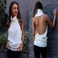 Women Sexy Backless Sweater Sleeveless High Neck Turtle Neck Backless Pullovers Sexy Elegant Causal Fashion Sweaters Blouse Tops