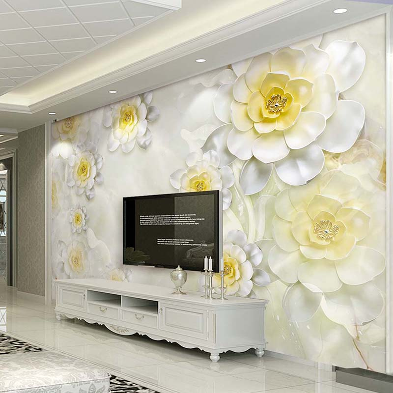 Custom Mural Wallpaper 3D Stereoscopic Embossed Flower White European Style Living Room TV Backdrop Art Wall Painting Wallpaper custom mural wallpaper european style 3d stereoscopic new york city bedroom living room tv backdrop photo wallpaper home decor