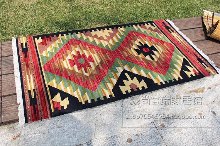 Kilim tapis laine tissé sol pour chambre traditionnelle géométrique laine à tricoter tapis