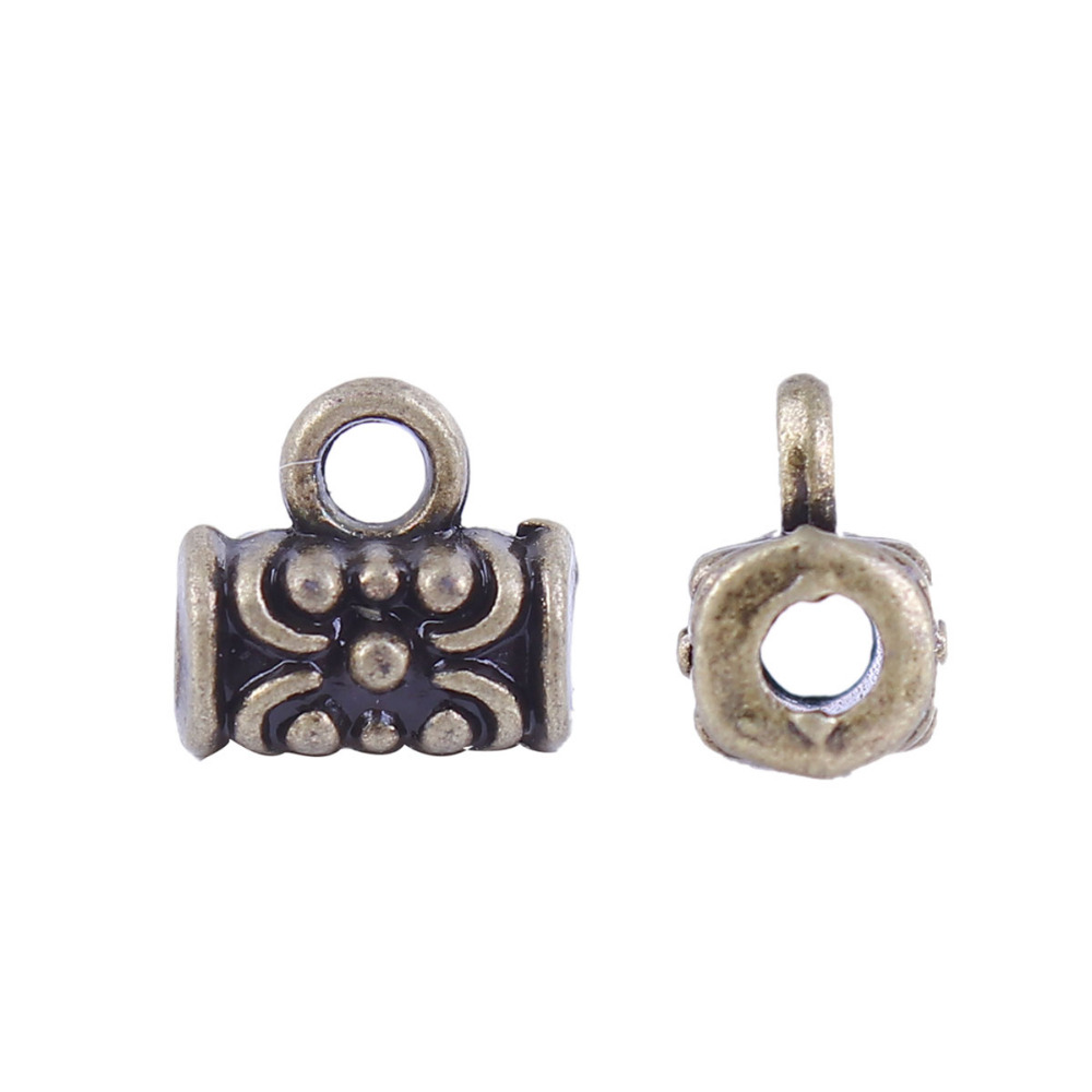 DoreenBeads Zinc Based Alloy Antique Bronze Bail Beads Cylinder Style DIY Jewelry Components 7mm( 2/8) x 7mm( 2/8), 100 PCs