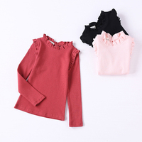 2017 School Girls Blouse Thermal Underwear For Child Autumn Winter Cute Long Ruffle Sleeve Blouse Kids