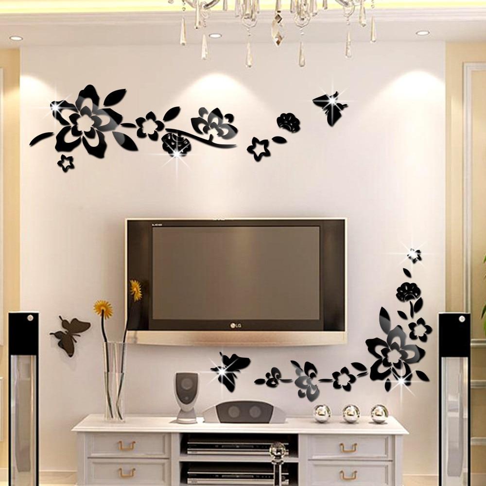 Modern creative diagonal flower vine butterfly acrylic for Wall stickers decor modern