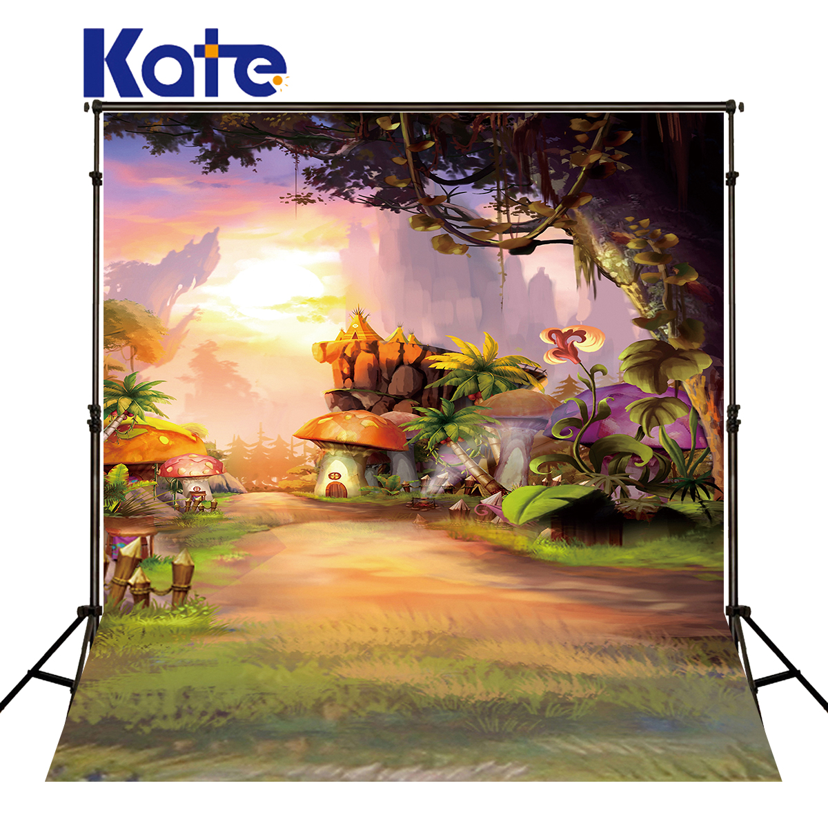 Kate Newborn Background Fairy Tale Fantasy Forest Backdrop Mushroom Courtyard Backdrops Photocall Backgrounds for Photo Studio vinyl photography background fairy tale