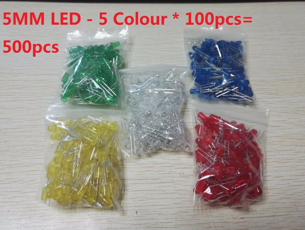 500Pcs/lot 3MM 5MM LED Diode Kit Mixed Color Red Green Yellow Blue White F3 F5 5 Values Assorted Assortment Set Diy Kits