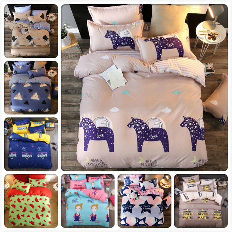 Kids Boy Girl Single Double Twin Queen King Size Duvet Cover Bedsheet Pillowcase 3/4 pcs Bedding Set 1.2m 1.5m 1.8m 2m Bed Linen