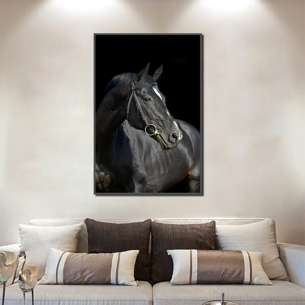 Unframed Canvas Animal Painting Black Horse Running Picture Prints Wall Picture For Living Room Wall Art Decoration