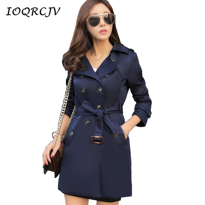 IOQRCJV Trench Coat Women Autumn Medium Long Outerwears Female Windbreaker Solid Double Breasted Overcoats Plus Size S-5XL S140