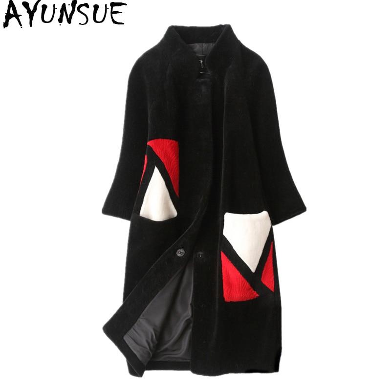 AYUNSUE Women's Fur Coat Winter Jacket Women 2019 Natural Sheep Shearing Fur Coats Long Warm Real Wool Jackets Overcoat 6803