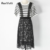 RenYvtil 2017 Summer Girl S Student Casual Splicing Pleated Mesh T Shirt Dress Women Black White