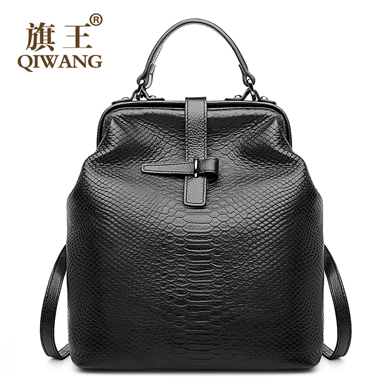 Qiwang Doctor Bag Open Stylish Backpack Snakeskin Cow Genuine Leather Backpack us Famous Brand Quality Women Bags Back Pack solid color open back stylish cami bodycon dress for women