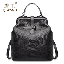 Qiwang Doctor Bag Open Stylish Backpack Snakeskin Cow Genuine Leather Backpack us Famous Brand Quality Women