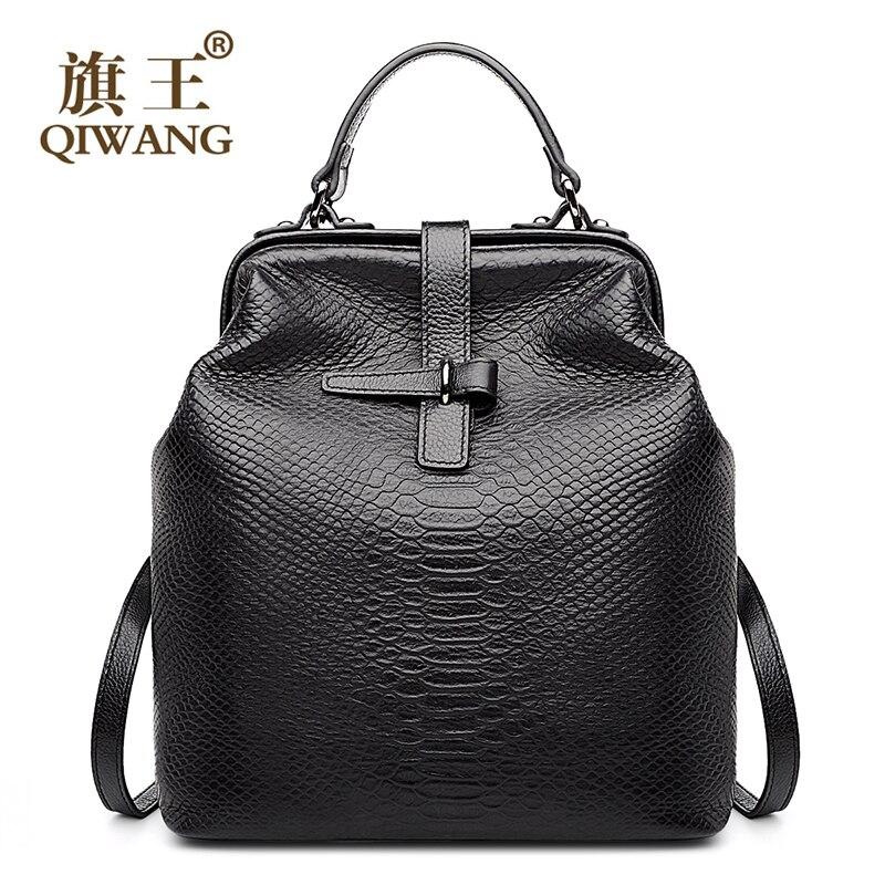 Qiwang Medico Sacchetto Aperto Zaino Alla Moda di pelle di Serpente Della Mucca del Cuoio Genuino Zaino us Famoso Marchio di Qualità Delle Donne Borse Zaino
