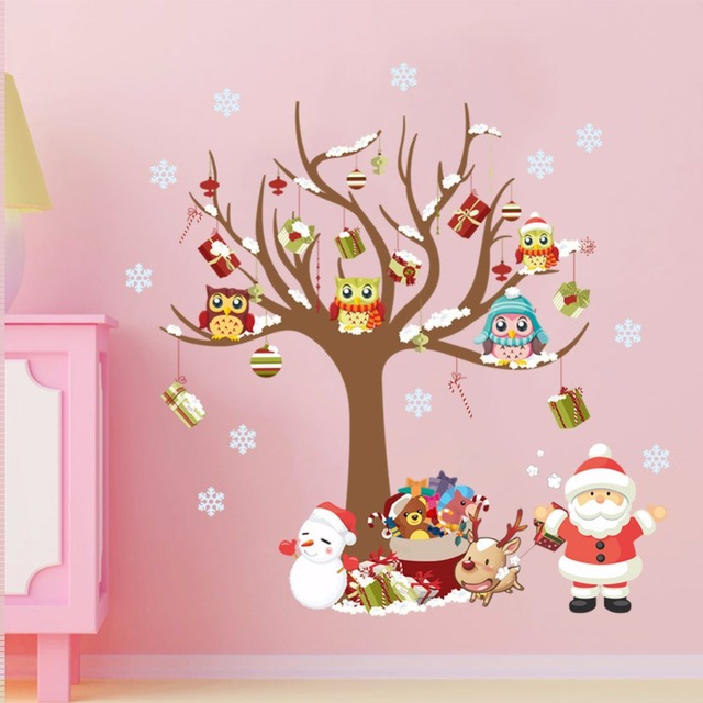 New arrival Christmas tree father christmas wall stickers Children\'s ...