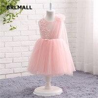 2018 Hot Sale Flower Girl Dresses Pink Tulle O Neck Sleeveless Beading Applique Cheap Ball Flower