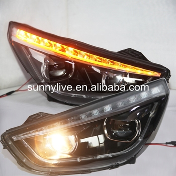 For HYUNDAI Tucson IX35 LED Headlight Black Housing 2010-2012 TLZ