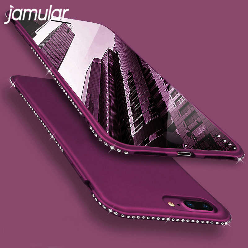 Funda de lujo de diamantes de imitación para iPhone 6 6 S 7 8 cubierta suave de TPU para iPhone X XS MAX XR 7 8 Plus Coque Funda