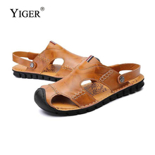 YIGER NEW Mens Slippers Genuine Leather Mans Beach Sandals Summer Leisure Rubber Sole Brown/Red Brown/Black  0068