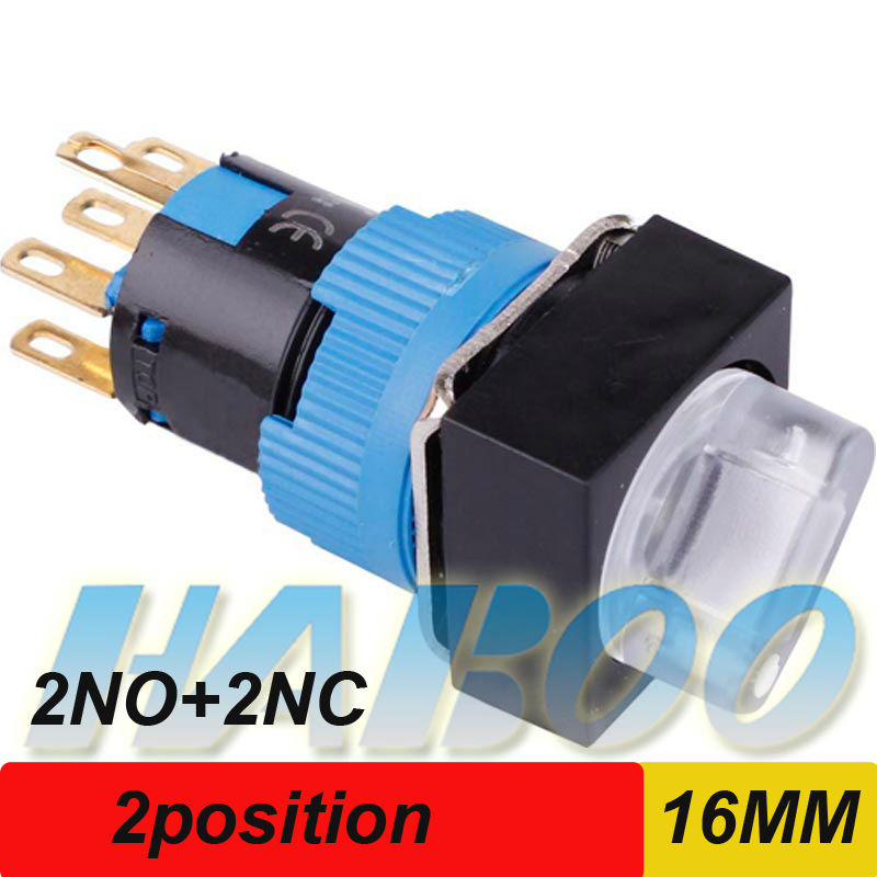 1PCS shipping free  16mm illuminated switch  with 2position DPDT 6V 12V 24V 110V 220V round head,square head,rectangular head 16mm switch automatic reset square indicator 5a 220vac dpdt 2a 2b with led k16 282 dip8 top red colour new and original