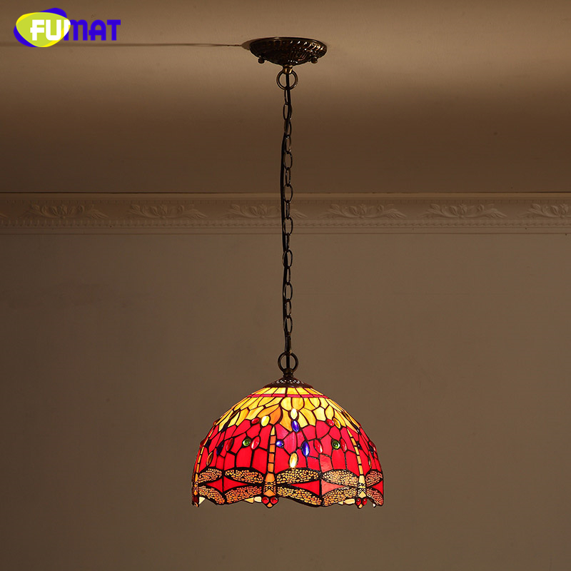 FUMAT Stained Glass Pendant Light Red Dragonfly Lampshade Lamp For Kithen Dining Room Vintage Creative Glass Art Pendant Lamps fumat european style vintage pendant lamp dining room living room glass shade metal lamps american led metal brief pendant light