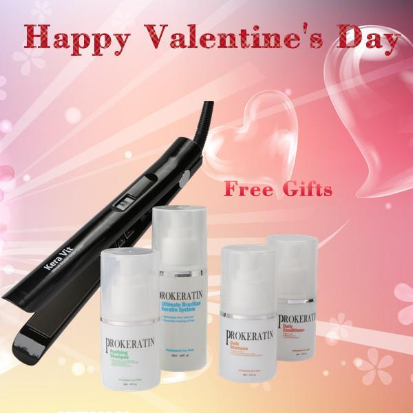 Tratamiento del cabello queratina brasileña PROKERATIN + set de pelo rofesional plancha para el Día de San Valentín regalos de BRICOLAJE en el hogar