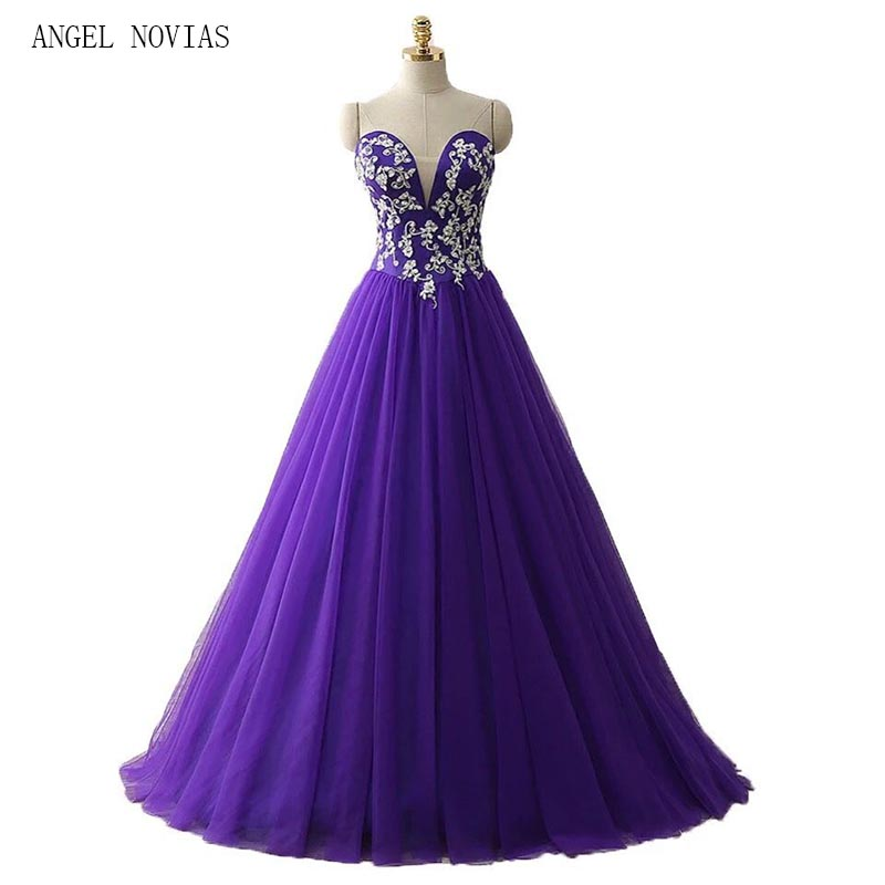 Angel Novias Long Prom Dresses 2018 Elegant Ball Gown Sweetheart