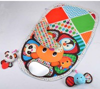 0m 90cm Baby Activity Mat Crawling Mat Play Mat Pad Padded Bolster Large Mirror Teether Animals