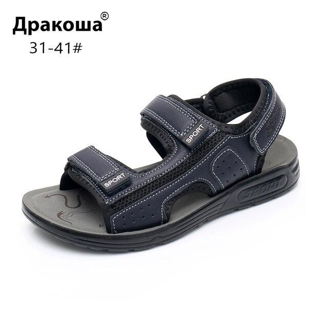 Apakowa 주니어 보이즈 오픈 토 프트 3 스트랩 스포츠 샌들 키즈 여름 해변 워킹 워터 슈즈 old Teens Boy Outdoor Footwear