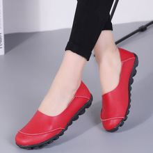 2018 Leather Women's Flats Slip on Shoes No-slip Loafers Solid Color Soft Sole Shoes Comfy Shoes size:35-43