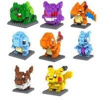 8pcs/lot Pokemon Go Seris 7.5CM LOZ Blocks Diamond Building Blocks Action Figure 3D Minifigures Bricks Toys No Original Box