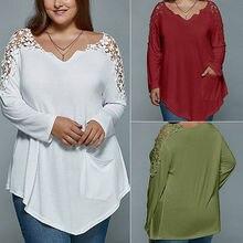 7675e1964af Women Lace Crochet Long Sleeve Loose Tops Casual Shirt Blouse Plus Size UK  18-26