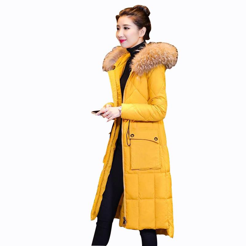 Rlyaeiz 2018 New Casual Winter Jacket Women Warm Mid-long Down   Parka   Coat Pure Color Fur Collar Hooded Women Winter Coat Outwear