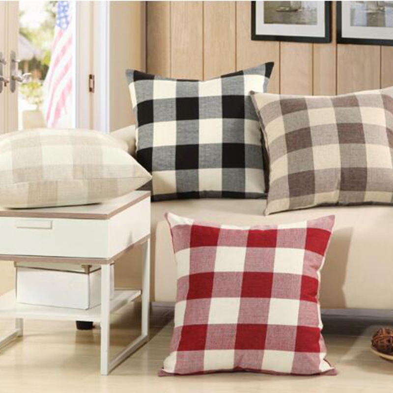 Cushion Cover Table & Sofa Linens 1pcs Classic Plaid Linen Plain Cushion Covers Bed Square Pillow For Sofa Home Office Soft Decor Pillow Cases 45cm 17.7 Kyy8726