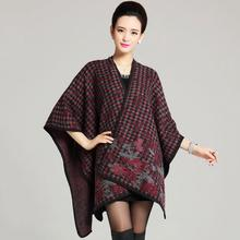 Winter cape Knit 2016 Oversize Tartan wrap Plaid Women New Designer Acrylic Blanket Shawl winter plus big size pashmina