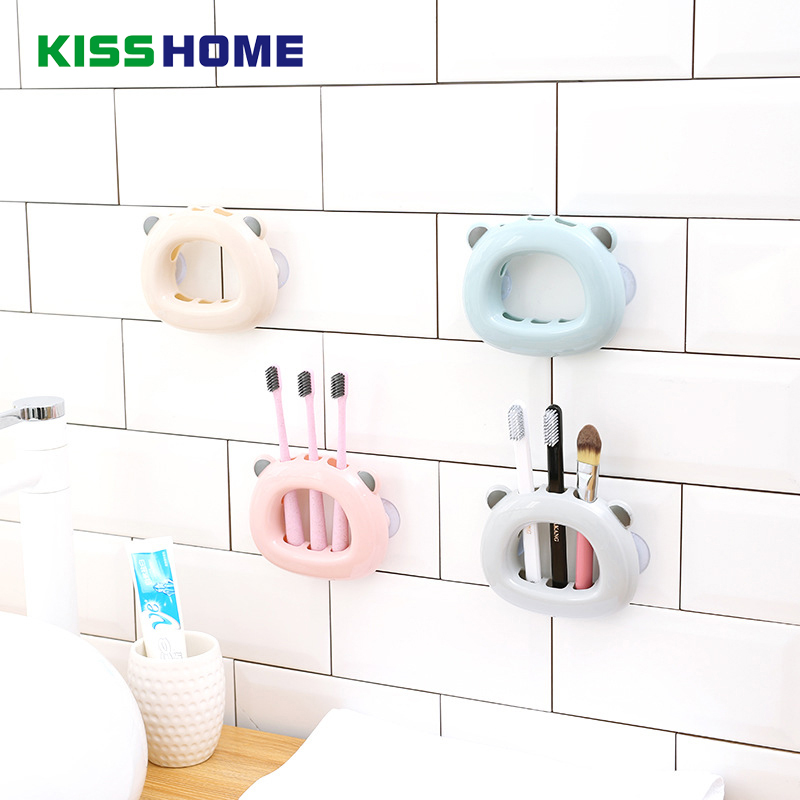 Cute Bear Shaped 4 Color Wall Mounted Toothbrush Suction Cup Storage Rack Bathroom Makeup Brushes Shaver Three Holes Holder