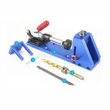 Woodworking Tool Pocket Hole Jig Woodwork Guide Repair Carpenter Kit System With Toggle Clamp and Step Drilling Bit CP527 woodworking guide carpenter kit system inclined hole drill tools clamp base drill bit kit system pocket hole jig kit
