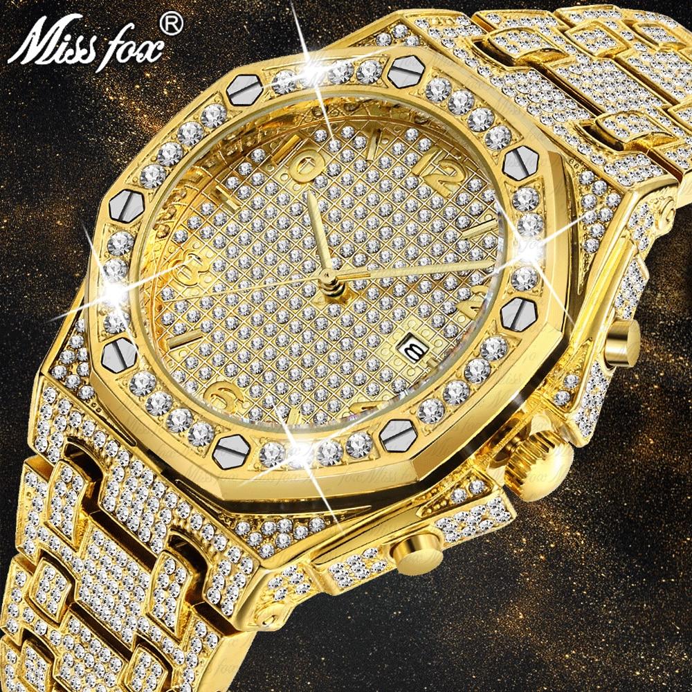 MISSFOX Mens Watches Top Brand Luxury Role Male Gold Wrist Watch Quartz Carbon Fiber Bezel Diamond