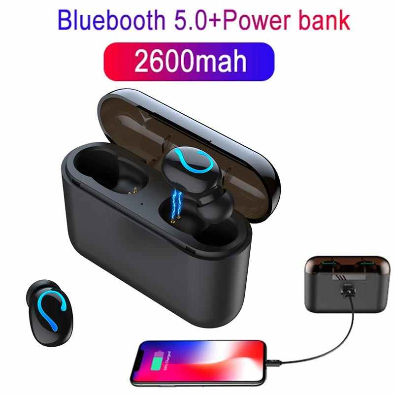Wireless Bluetooth 5.0 headphones HBQ tws Earphones sport Stereo Earbud gaming headsets with HD MIC power bank for iphone xiaomi