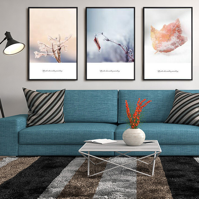 Amazing Nordic Style Warm Winter Leaves Still Life Canvas Painting Home Living Room  Maple Leaves Snow Tree