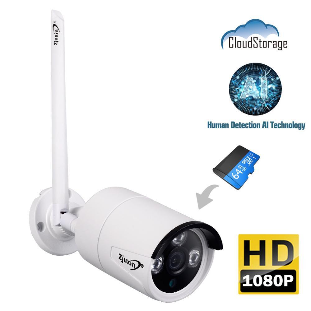 Zjuxin 1080 p 2mp wifi ip ai câmera hd nuvem sem fio ao ar livre à prova de intempéries câmera de segurança de visão noturna infravermelha com slot tf