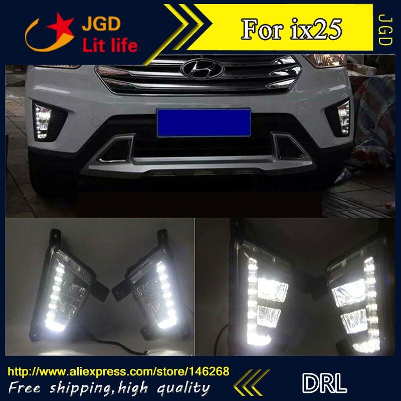 Free shipping ! 12V 6000k LED DRL Daytime running light for Hyundai IX25 fog lamp frame Fog light free shipping 2015 hyundai ix25 daytime running light fog light led drl fog lamp fit for hyundai ix25