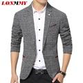 LONMMY Linen suits men blazer Slim fit High quality One buckle Unique mens blazers suit Fashion men blazer designs 2016 New