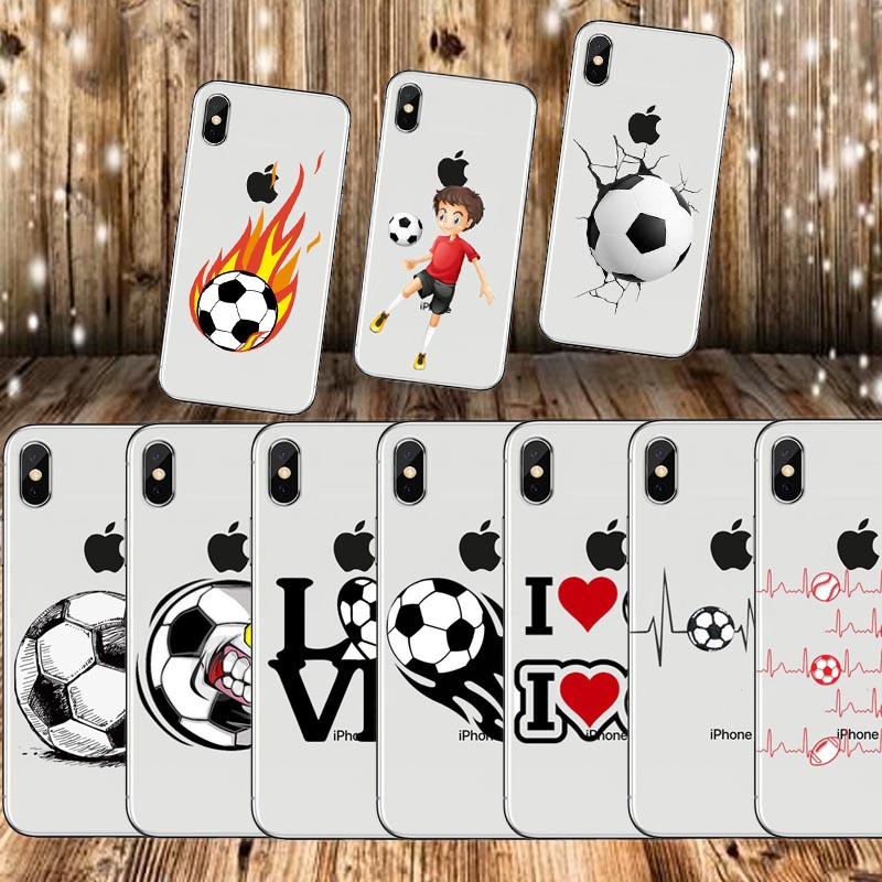 Football Soft TPU Silicone Case Cover For iPhoneX 8 8Plus 7 7Plus 6S 6SPlus 5 5S SE Cartoon Soccer Cute Cover.