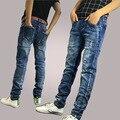 2016 homens dos homens em linha reta calças Stretch, pequeno buraco em jeans